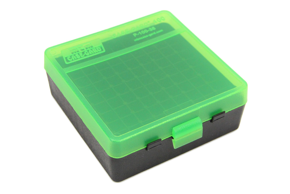 100-Round Pistol Ammo Clear Green and Black Box, 38 Spl, 357 Mag